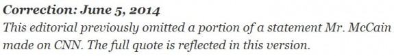 NY Times Rush to Demonize Sgt Bergdahl correction re McCain quote 6-6-2014 10 08 am