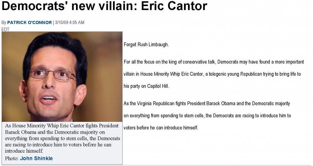 Politico Eric Cantor Democrats' New Villain