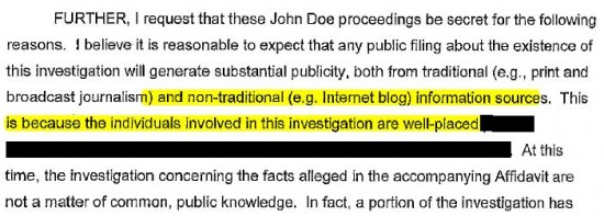 Wisconsin Petition for Commencement of John Doe Proceeding re blogosphere highlighted