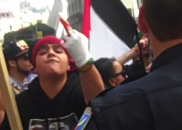 BDS female protester San Francisco July 2014