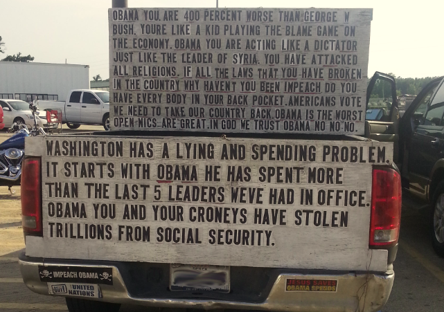 Bumper stickers porter tx anti obama truck