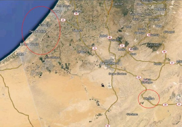 Dimona earth map relative to Gaza - circled