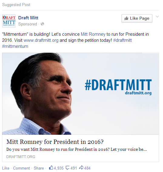 Draft Mitt sponsored ad Facebook