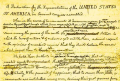 Draft of Declaration of Independence cropped