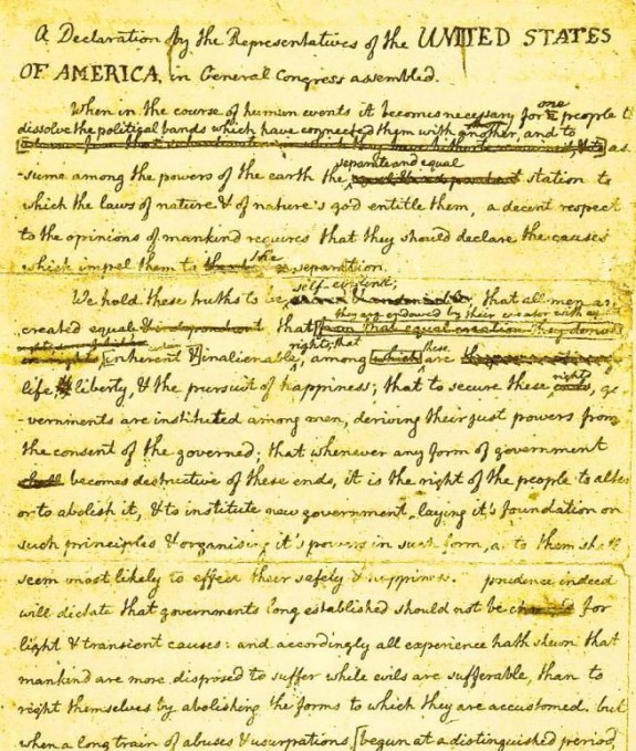 Draft of Declaration of Independence