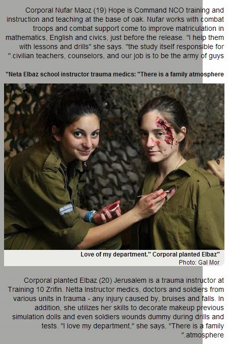 Israeli female soldiers blood make up