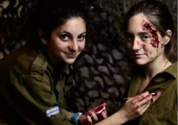 Israeli female soldiers blood makeup