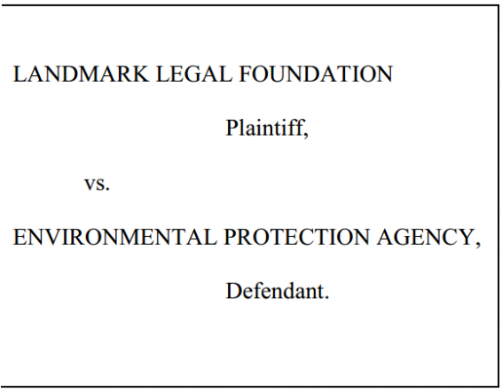 Landmark Legal Foundation v EPA Caption