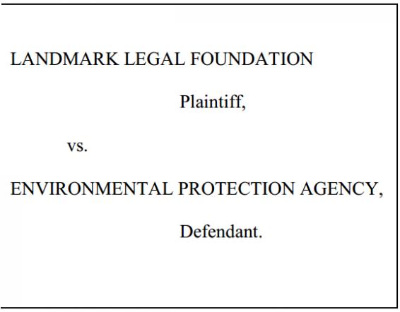 Landmark Legal Foundation v EPA Caption