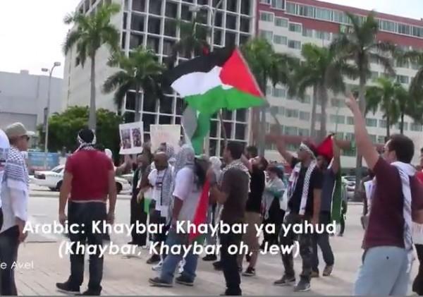 Miami anti Israel protest Khaybar ya Yahud