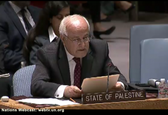 Security Council Emergency Meeting Gaza - Rep of Palestine