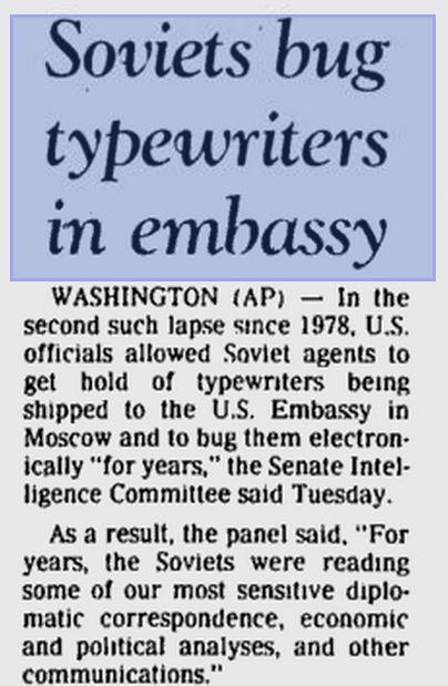 Soviets Bug Typewriters in U.S. Embassy