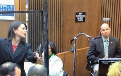 Theodore Wafer defense counsel Cheryl Carpenter with screen door, Officer Kolonich testifying
