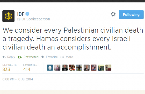Twitter - @IDFSpokesman - Every civilian death tragedy