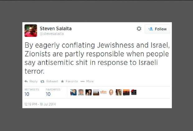 Twitter - @SteveSalaita - Zionists partly responsible for antisemitic shit Featured image