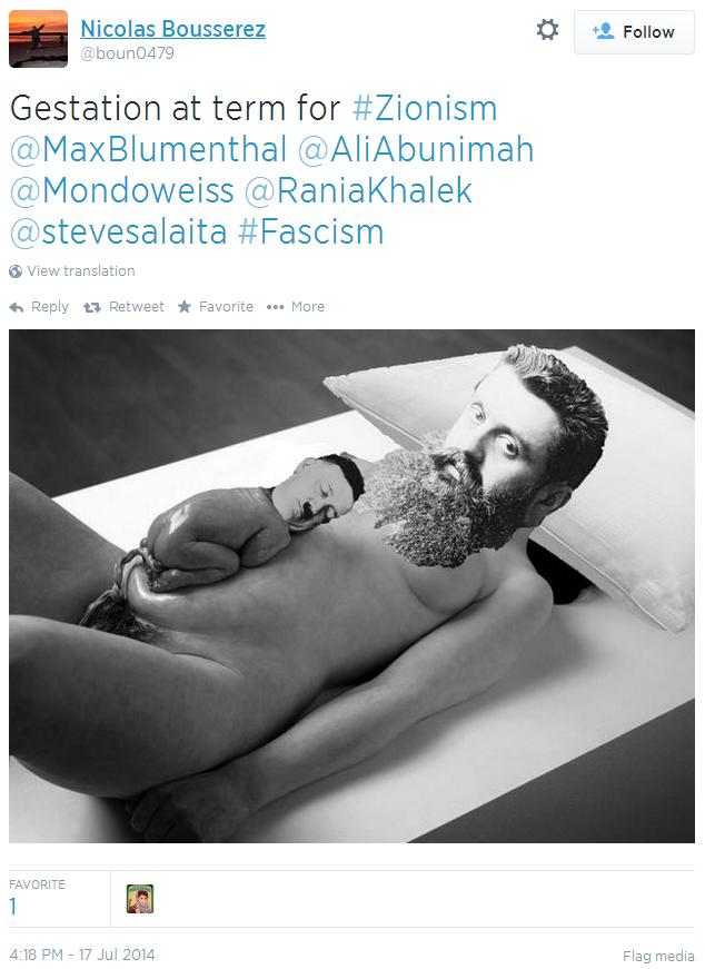 Twitter - @bound0479 - giving birth hitler Zionism