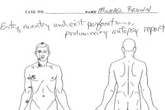 Mike Brown autopsy sketch