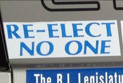 Bumper Stickers - Riverside RI - Re Elect No One