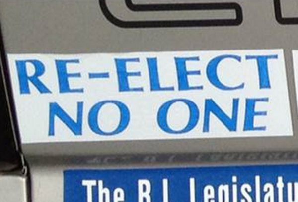 Bumper Stickers - Riverside RI - Re Elect No One