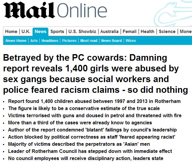 Daily Mail Rotherham scandal