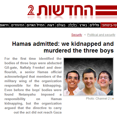 Israel website Hamas Official kidnap teens