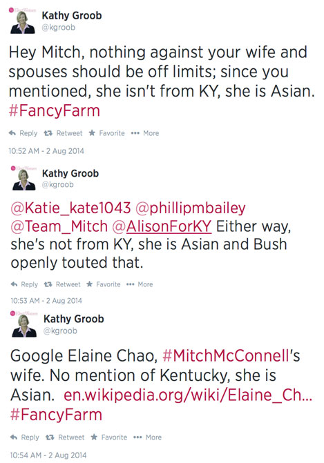 Kathy Groob Tweets Elaine Chao Asian not KY