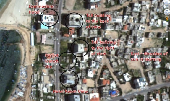 Location of Hamas rocket launch captured by NDTV via Israelly Cool