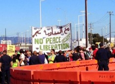 Oakland Block the Boat sign No Peace Before Liberation