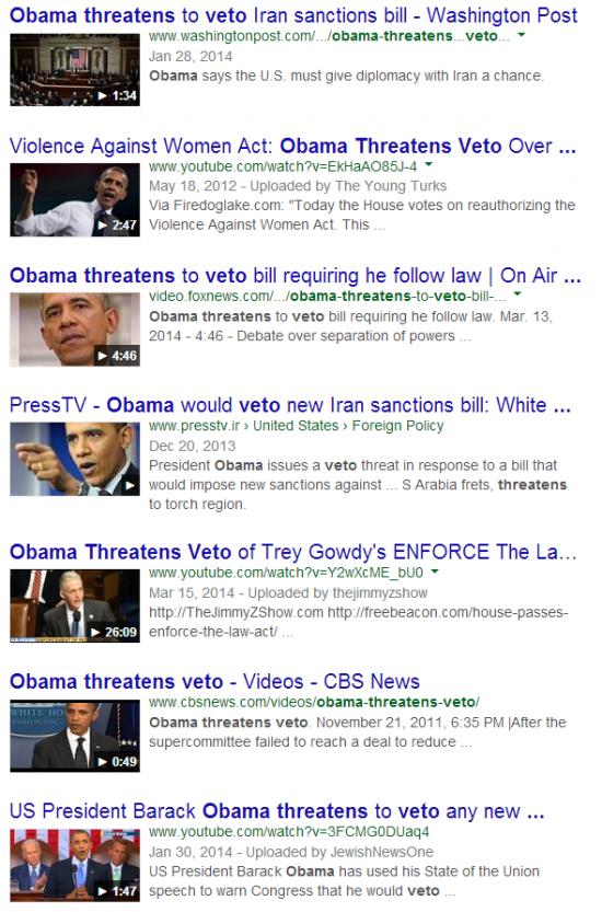 Obama Threatens Veto Video Search Result