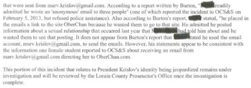 Oberlin Police Report excerpt February 27 B