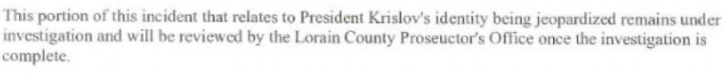 Oberlin Police Report excerpt March 14
