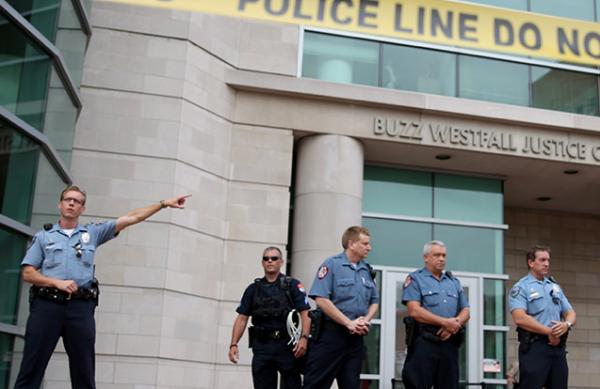 (Police Protecting Courthouse, Ferguson MO)