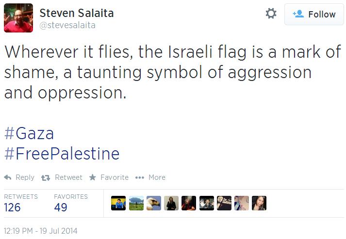 Twitter - @SteveSalaita - Israeli Flag symbol of oppression