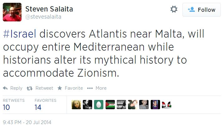 Twitter - @stevesalaita - Atlantis Zionism mythical