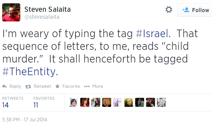 Twitter - @stevesalaita - Israel the entity