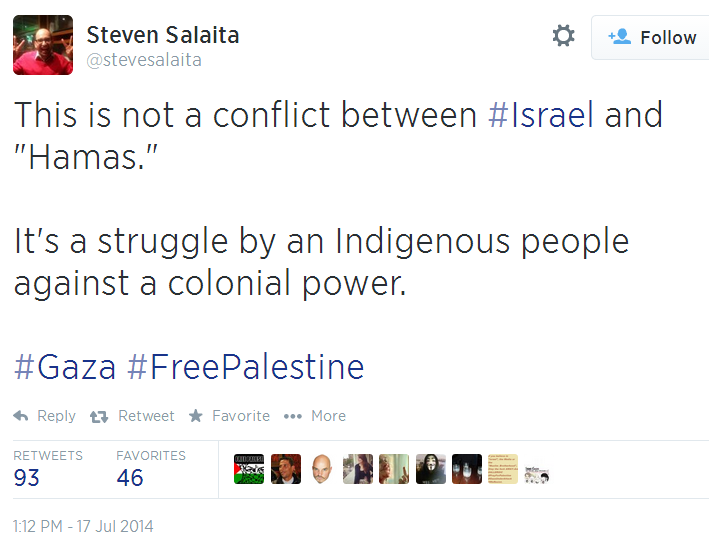Twitter - @stevesalaita - not fight between Israel and Hamas Colonial Power