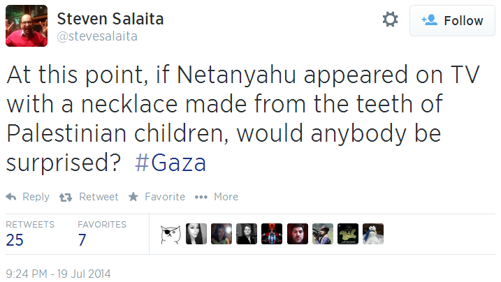Twitter _ stevesalaita_ At this point, if Netanyahu necklace of teeth