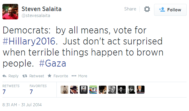 Twitter _ stevesalaita_ Democrats_ by all means, vote for Hillary