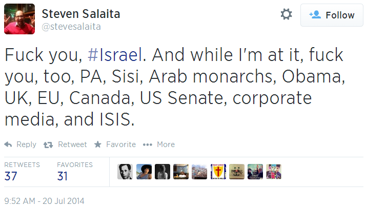 Twitter _ stevesalaita_ Fuck you, #Israel. And while