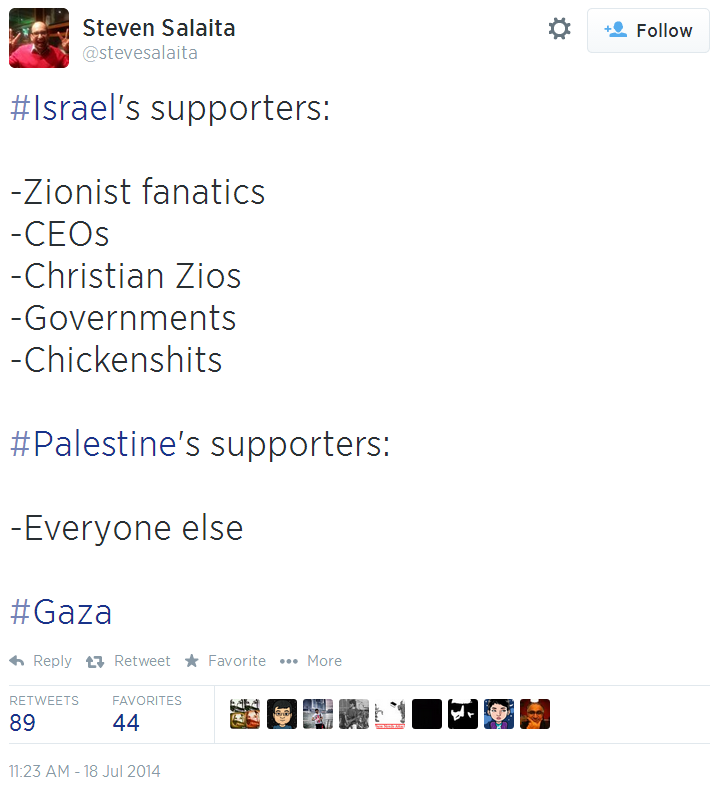 Twitter _ stevesalaita_ #Israel's supporters_ -Zionist