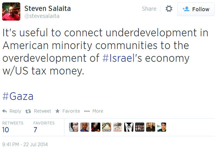 Twitter _ stevesalaita_ It's useful to connect underdevelopment minority overdevelopment Israel