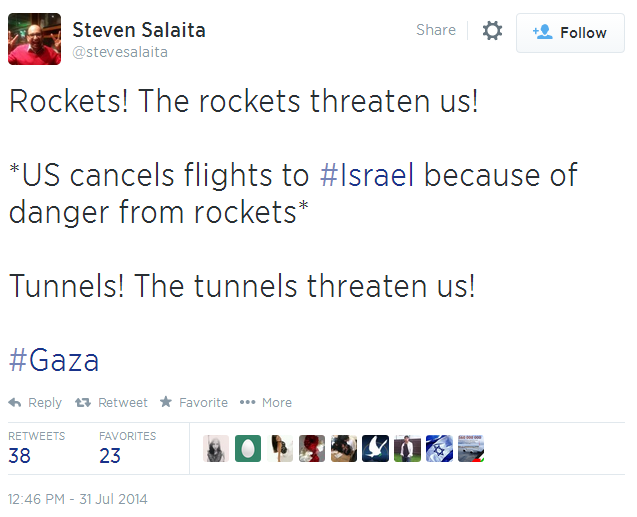 Twitter _ stevesalaita_ Rockets! The rockets threaten us