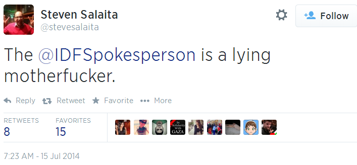 Twitter _ stevesalaita_ The @IDFSpokesperson is a lying