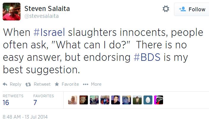 Twitter _ stevesalaita_ When #Israel slaughters endorse BDS