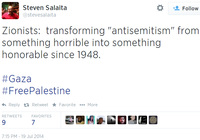 Twitter _ stevesalaita_ Zionists_ transforming into something honorable