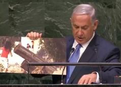 Benjamin Netanyahu UN General Assembly 9-29-2014 w poster