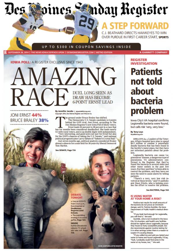 Des Moines Register front page Ernst senate poll 9-28-2014