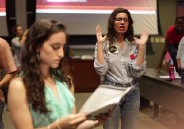 [Megan Marzec ordering arrest of Pro Israel student Rebecca Sebo Ohio University)credit: Kaitlin Owens video)]