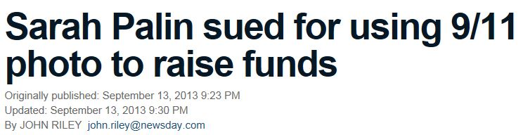 Newsday Palin Copyright Suit headline