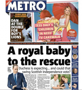 The Mirror Royal Baby Saves Scottish Vote